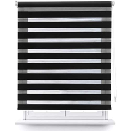 MERCURY TEXTIL Estor Enrollable de Doble Capa, Noche y Día, translúcido y oscurecido (140 x 180 cm, Negro)