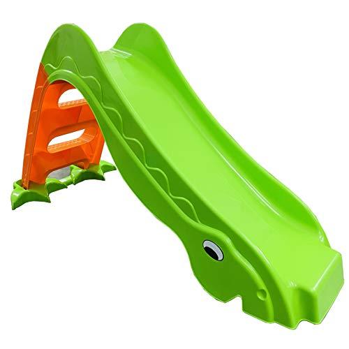 TikTakToo Stabile Kleinkinderrutsche für Kinder ab 1 Jahr Kinderrutsche Garten Rutsche Rutschbahn Outdoor Zimmerrutsche freistehende Bockrutsche (apfelgrün / orange)