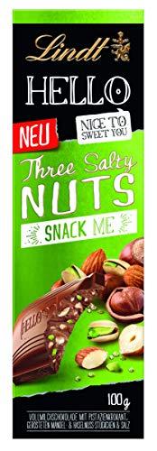 Lindt HELLO Tafel, Three Salty Nuts, Vollmilchschokolade mit Pistazienkrokant, gerösteten Mandel- & Haselnuss-Stückchen & Salz, 1er Pack (1 x 100 g)