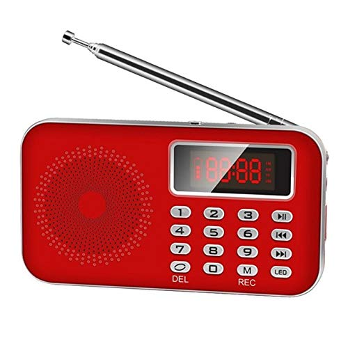Mini FM Radio FM dab Radio, Speaker USB Rechargeable Music Player Support TF/SD Card with LED Display Screen (Color : Red)