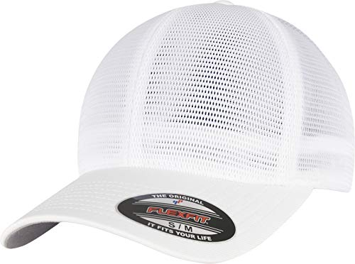 Flexfit Unisex 360 OMNIMESH Cap Baseballkappe, White, L/XL