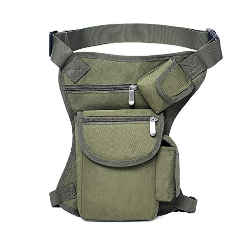 FEZBD Tactical Leg Bag Outdoor Sports Leisure Multi-Function Canvas Pouch Hiking Cycling Travel Fishing Waist Hanging Tool Bag,Green