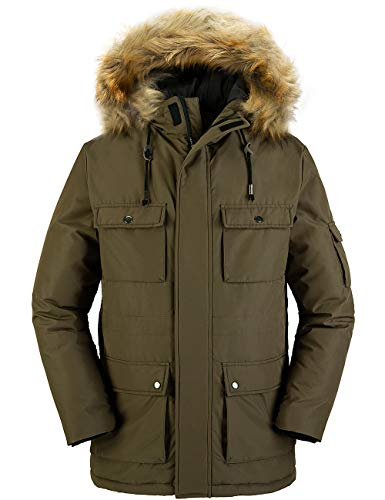 Wantdo Men's Warm Parka Jacket Winter Coat with Fur Hood Army Green L