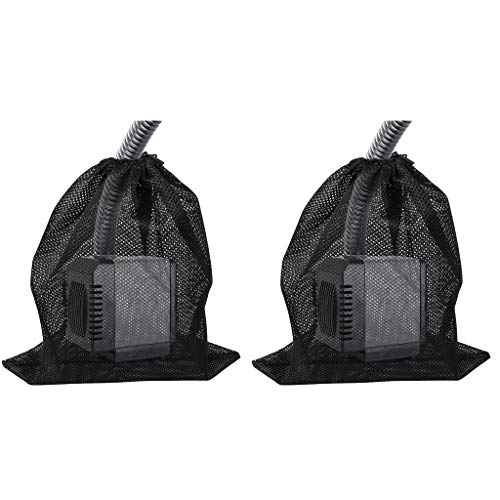 """ZERIRA 2 Pack Pump Barrier Bag, 12.2""""x 15.9""""with Drawstring Pond Mesh Pump Filter Bag for Pond biofilters Aquarium Filtration and Outdoor Swimming Pool Black Media Bags"""