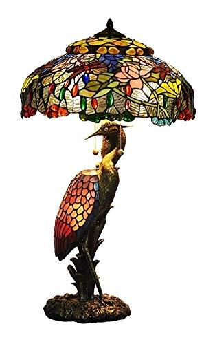 Lámpara de Vitral Lotus de la libélula del estilo de Tiffany lámpara de mesa de 19 pulgadas Mujer de la grúa Stained Glass lámpara de escritorio de la sala de estar dormitorio de noche luz de la tabla