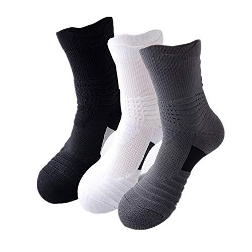 Yaunli Sportsocken Herren Arbeitssocken Athletic Nylonsocken Outdoor Sport oder 3 Paar für den täglichen Gebrauch Die Sportsocken aus Baumwolle für Männer, Nylon, 3 Farben, 3 Pairs
