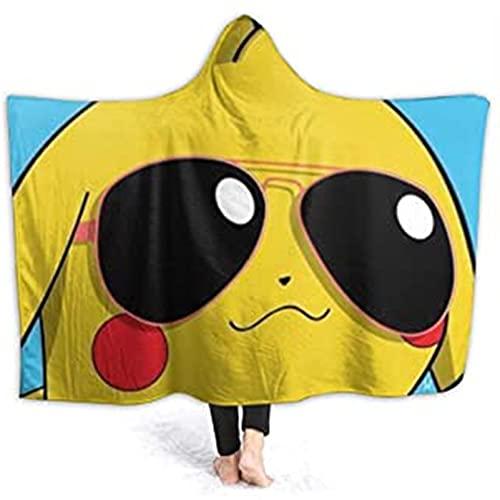 Itscominghome - Manta con capucha de Pikachu con impresión 3D, manta de microfibra de cachemira, regalo para niños (Pikachu 05,130 x 150 cm)