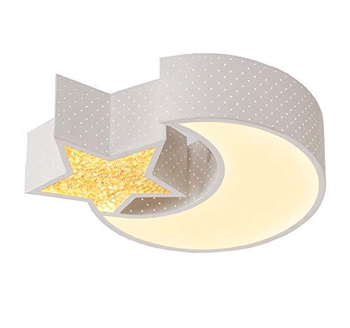 Style home LED Kinderlampe 24W Deckenleuchte Deckenlampe voll dimmbar mit Fernbedienung Mond mit Stern (48 * 35 * 12,5 cm)