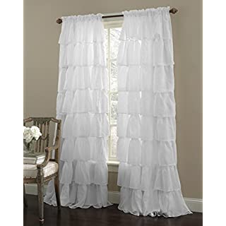 "Decotex 1 Piece Gypsy Ruffled Shabby Chic Crushed Voile Sheer Window Curtain Treatment Panel Drape (55"" X 84"", White)"