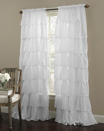 Decotex 2 Piece Gypsy Ruffled Shabby Chic Crushed Voile Sheer Window Curtain Treatment Panel Drapes (White, 55' X 84')