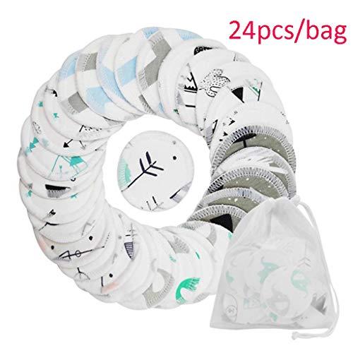 Gesichtsmake-up Entferner Wiederverwendbare Waschlappen Pad Drei Schichten Waschbar Baumwolle Weiche Make-Up Entferner Tuch Für Weibliche Mädchen Makeup Tools ( Color : White , Größe : C(24pcs/bag) )