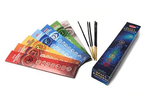 Etwas finden verschiedene 7Chakren Räucherstäbchen Sortiment mit 5josticks Pack Pro Chakra, Bambus, mehrfarbig