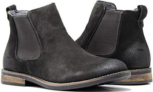 Enzo Romeo BL01 Men's Chelsea Boots Dress Fashion Slip On Suede Leather Ankle Boots (8.5 D(M) US, Dark Grey)