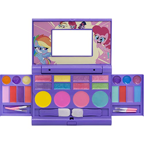 Townley Girl Hasbro My Little Pony Cosmetic Compact Set with Mirror 22 Lip glosses, 4 Body Shines, 6 Brushes Colorful Portable Foldable Washable Make Up Beauty Kit Box Toy Set for Girls Kids Toddler