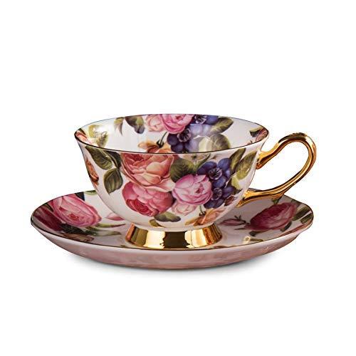 XBR Ensembles de Tasses à thé en Porcelaine Royal Classic Bone China , Tasse à thé et Soucoupe Anglaise Haute et Soucoupe Miniature , Tasses à café en Porcelaine pour Petit-déjeuner