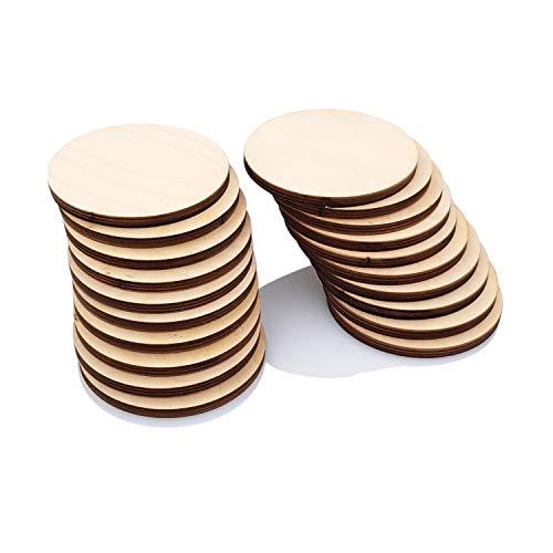 Primolegno 20 runde Brettchen mit 9 cm Durchmesser, rund, aus unbehandeltem Holz, zum Dekorieren für Backwaren, Modellbau, dick, robust und schön.