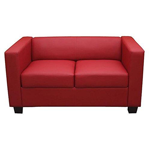 Mendler 2er Sofa Couch Loungesofa Lille ~ Kunstleder, rot