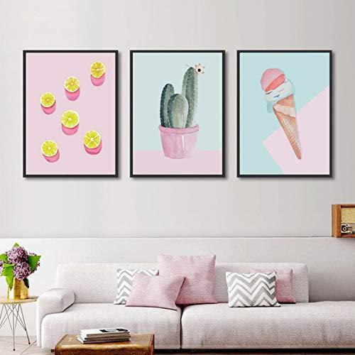 WLEZY HD-druk canvasschilderij 3 stuks poster muurkunst canvas schilderij gedrukt schattige cactus ijs afbeelding woonkamer woonkamer huis decoratie