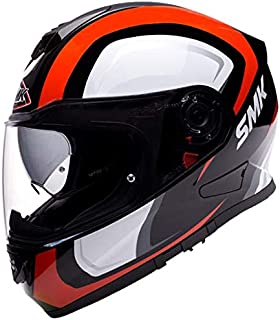 SMK GL231 Twister TWILIGHT Graphics Pinlock Fitted Full Face Helmet With Clear Visor (GLOSSY Black, RED and WHITE, L)