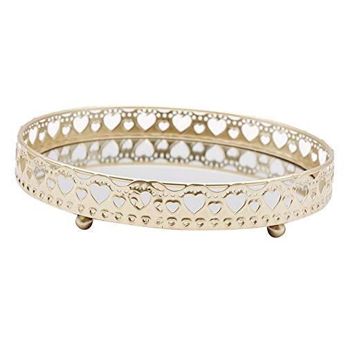 #N/a Bandeja de almacenamiento de joyas de vidrio Vintage bandeja de cosméticos con espejo de vela de Perfume decorativo de almacenamiento de - 25x25x5cm