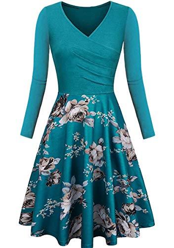 YMING Vestido de mujer de manga larga para fiestas, vintage, largo hasta la rodilla, cuello en V, tallas XS-2XL Flores y turquesa. XL