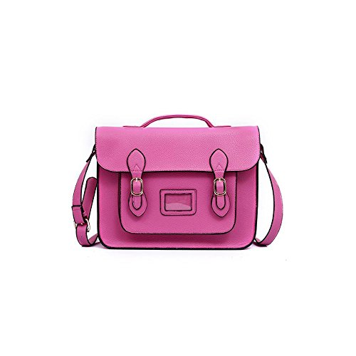 Vintage Large YASMIN BAGS 13.5'' Unisex Faux Leather Satchel/Cross Body Bag (Radiant Orchid Y12345)