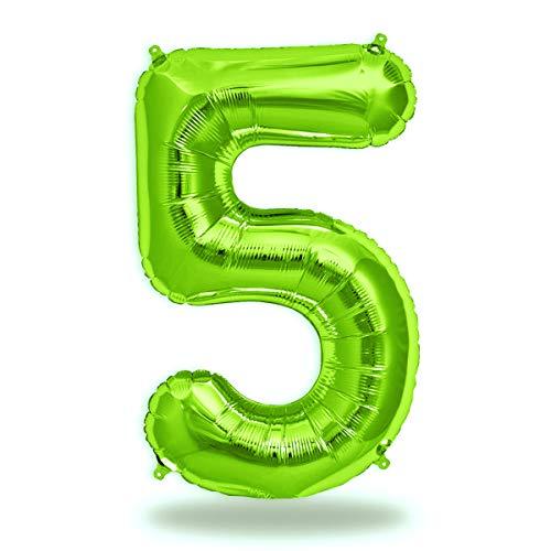 FUNXGO® Folienballon Zahl in Grün - XXL / ca.100cm Riesenzahl Ballons - Folienballons für Luft oder Helium als Geburtstag, Hochzeit , Jubiläum oder Abschluss Geschenk, Party Dekoration (Grün[5])