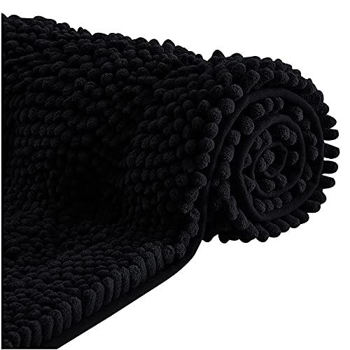 NICETOWN Tappetino Bagno Moderno con Rapida Assorbenza in Ciniglia Microfibra Tappeto Cucina Antiscivolo Lavabile Adatto per Bagno Cucina e Doccia, 1 pezzo, 60 x 120 cm, Nero