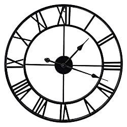 EURSON Large Wall Clocks Non-Ticking Silent 16 inch Battery Operated Oversized Metal Round Roman Numerals European Industrial Wall Clocks for Home Kitchen Living Room Office Decor (Black,16 Inch)
