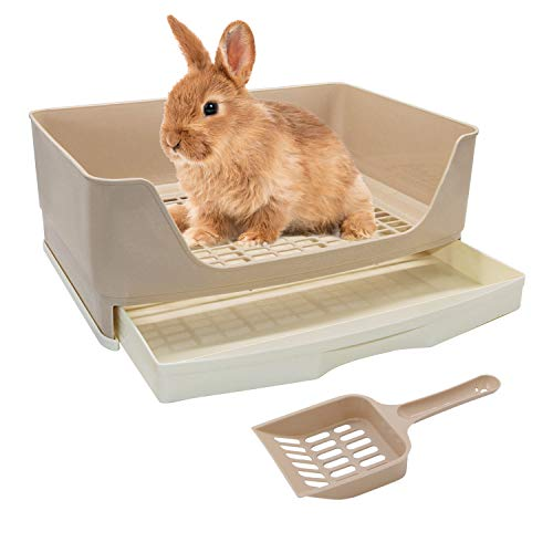 BWOGUE Large Rabbit Litter Box Toilet,Potty Trainer Corner Litter Bedding Box with Drawer Larger Pet Pan for Adult Guinea Pigs, Rabbits, Hamster, Chinchilla, Ferret, Galesaur, Small Animals