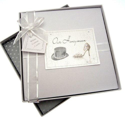 White Cotton Cards - Álbum de luna de miel (tamaño mediano), diseño de sombrero de copa y zapato de tacón