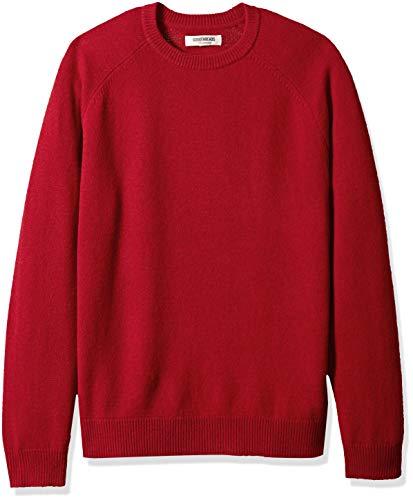 Amazon Brand - Goodthreads Men's Lambswool Stripe Crewneck Sweater, red, Medium