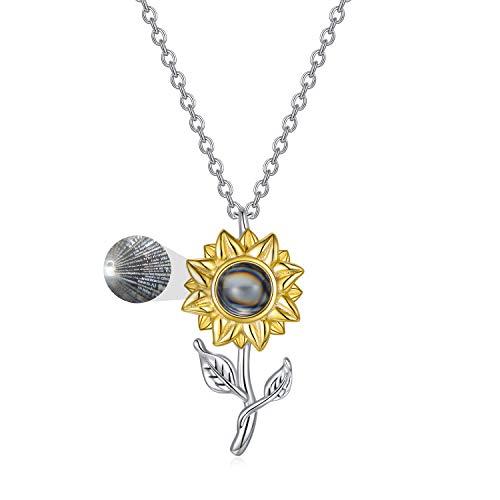 LONAGO Sonnenblumen Halskette 925 Sterling Silber Ich Liebe Dich 100 Sprachen Projektion Anhänger Halskette Schmuck für Frauen