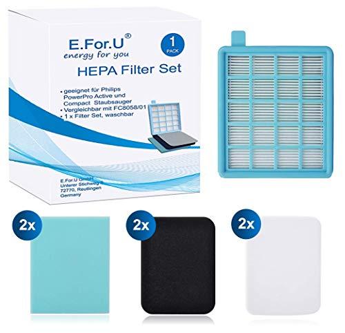 E. for.U Juego de filtros para Philips PowerPro Active y Compact Aspiradora.( comparable con fc8058)