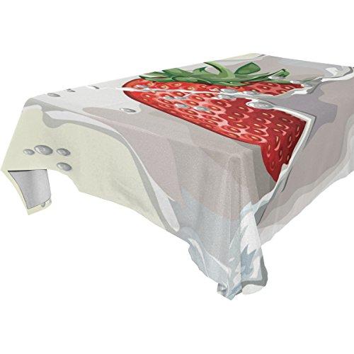 COOSUN Rectangle Strawberry Splash Party pour Mariage Nappe Vacances Lavable Polyester Tissu Table Couverture, 60 x 120 Pouces 60x120 (en) Multicolore