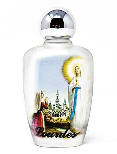 Weihwasser aus Lourdes in einer bunten, ovalen Glasflasche, inklusive Gebetskarte aus Lourdes