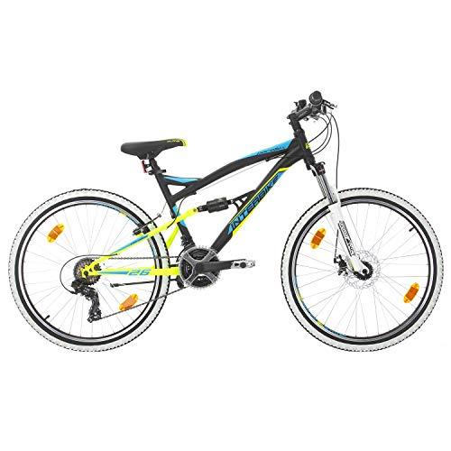 BIKE SPORT LIVE ACTIVE Bikesport Parallax Bicicleta De montaña Doble suspensión 26 Ruedas Freno a Disco Delantero Shimano 18 velocidades (Azul Negro)