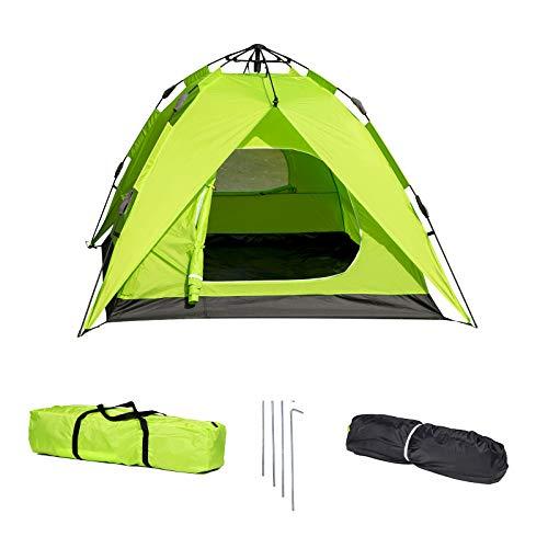 Laneetal Campingzelt Wurfzelt 2-3 Personen Zelt Sekundenzelt Camping Festival Outdoor Wasserdichtes Zelt 3 Jahreszeiten 180x200x150cm Grün