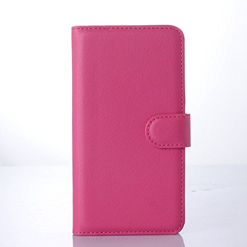 Ycloud Tasche für Microsoft Lumia 640 Dual-SIM Hülle, PU Ledertasche Flip Cover Wallet Hülle Handyhülle mit Stand Function Credit Card Slots Bookstyle Purse Design Rose Red