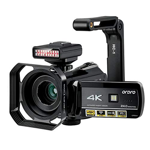 4K Camcorder ORDRO UHD Night Vision Video Camera Vlog Ghost Hunting Camera Camcorder for YouTube 3.1'' IPS Touch Screen Camcorder with IR Light Handheld Holder Lens Hood 64G SD Card and 2 Batteries