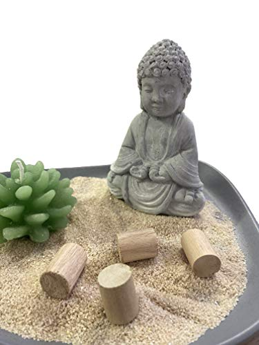 Set Decorativo Buddha Piatto Grigio in Legno con Sabbia Decorativa Candela e Bastoncini in Legno
