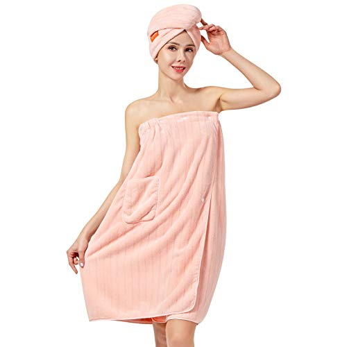 Lovife 2 Pack Microfiber Bath Spa Wrap & Hair Drying Towel Set for Women Bath Towel Wrap Adjustable Button Closure Bathrobe Women's Robes (Pink)