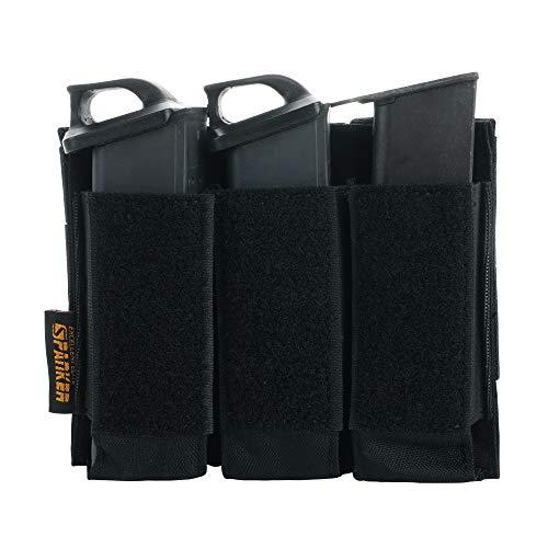 EXCELLENT ELITE SPANKER Taktisch Magazintasche mit Offenem Double/Triple Pistol Magazintasche(Triple-Schwarz)