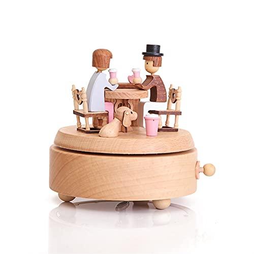 Useful 木製の回転楽曲時計仕掛品音楽音楽手作りの木箱工芸品アクセサリーレトロな家の装飾バレンタインデーのギフト convenient