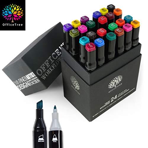 OfficeTree Marker Set 24 Stück - Twinmarker Faserstifte - Graffiti Stifte bunt zum Skizzieren Layouten Illustrieren Zeichnen Malen