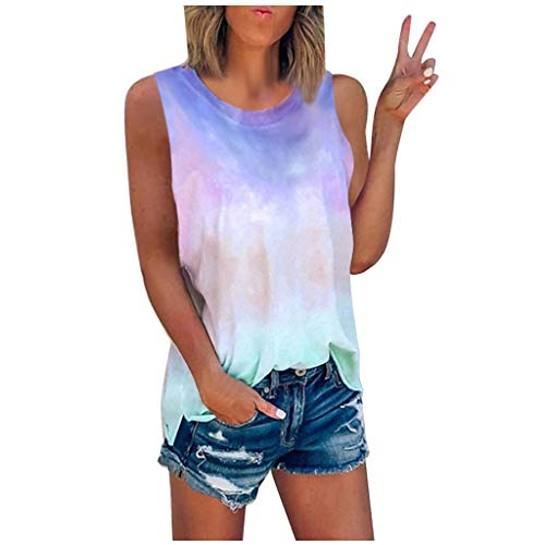 Janly Clearance - Camiseta sin mangas para mujer, sin mangas, para verano, sin mangas, cuello redondo, para...