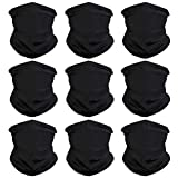 Headband Face Bandana Head Wrap Scarf Neck Warmer Headwear Balaclava for Sports (9PCS Black)