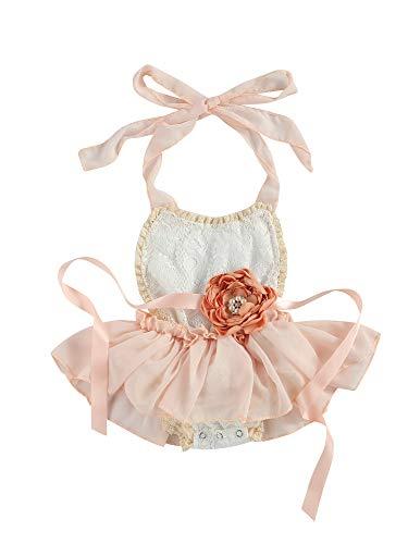 Siyova Conjunto de ropa de bebé de verano sin mangas con diseño de flores y encaje + diadema para fiesta de 2 piezas Rosa 0-3 meses