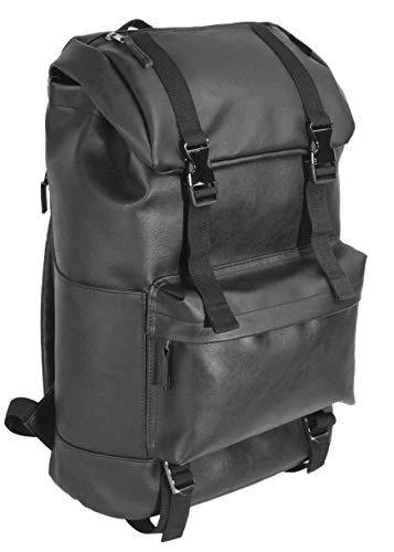 KingKing Black Backpack Schoolbag Casual Daypack Travel Backpack College Bookbag Laptop Computer Backpack Leather Backpack