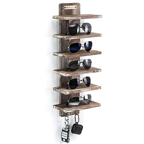 J JACKCUBE DESIGN Organizador de gafas de sol de montaje en pared de madera rústica Estante de 6 niveles con 2 ganchos Gafas Almacenamiento